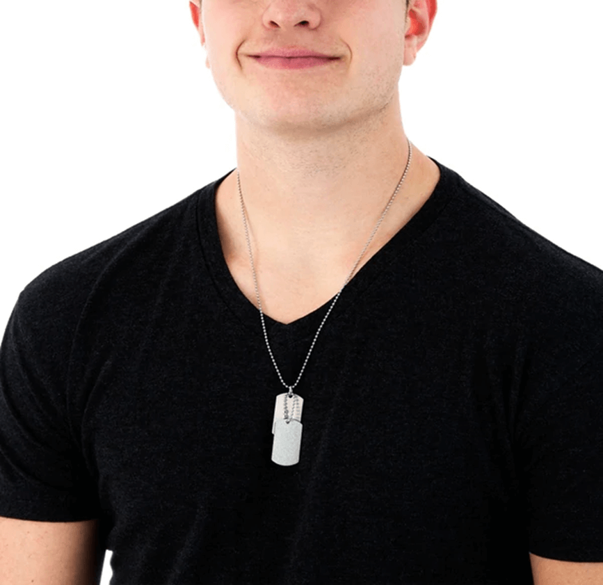 Example of dog tag for men with two plates