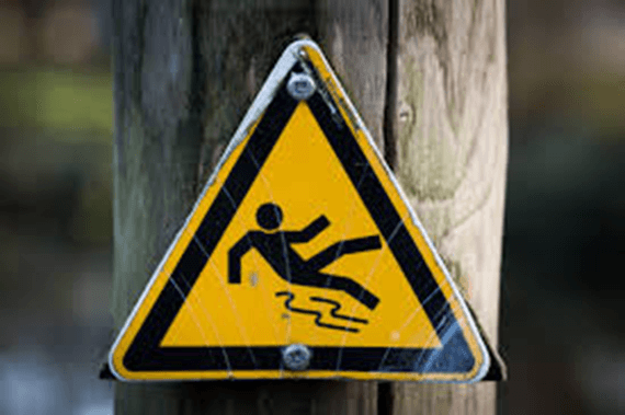 Example of slippery safety symbol