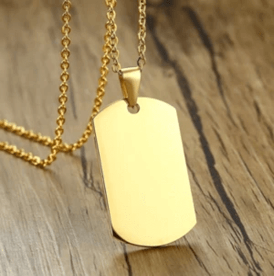 Example of white dog tag for men