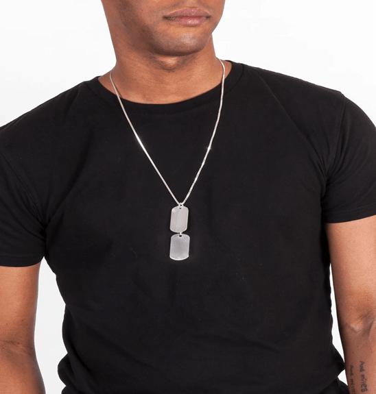 Dog tag for men with mathcing black tshirt