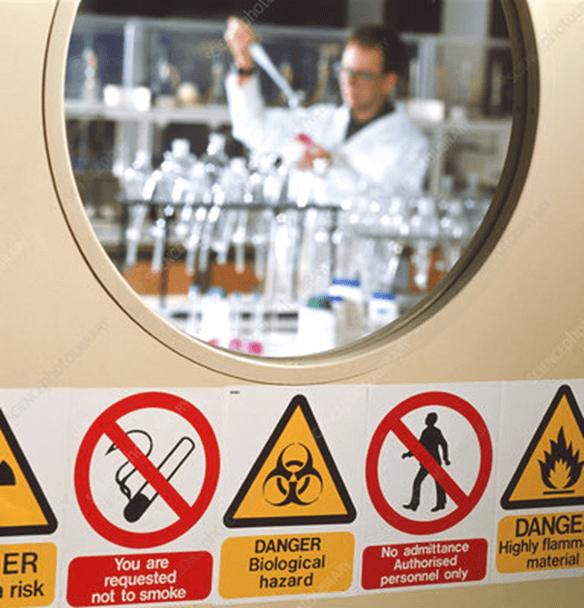Safety symbols on the lab door