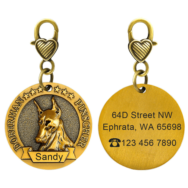 Engraved personalized round dog tag for dogs
