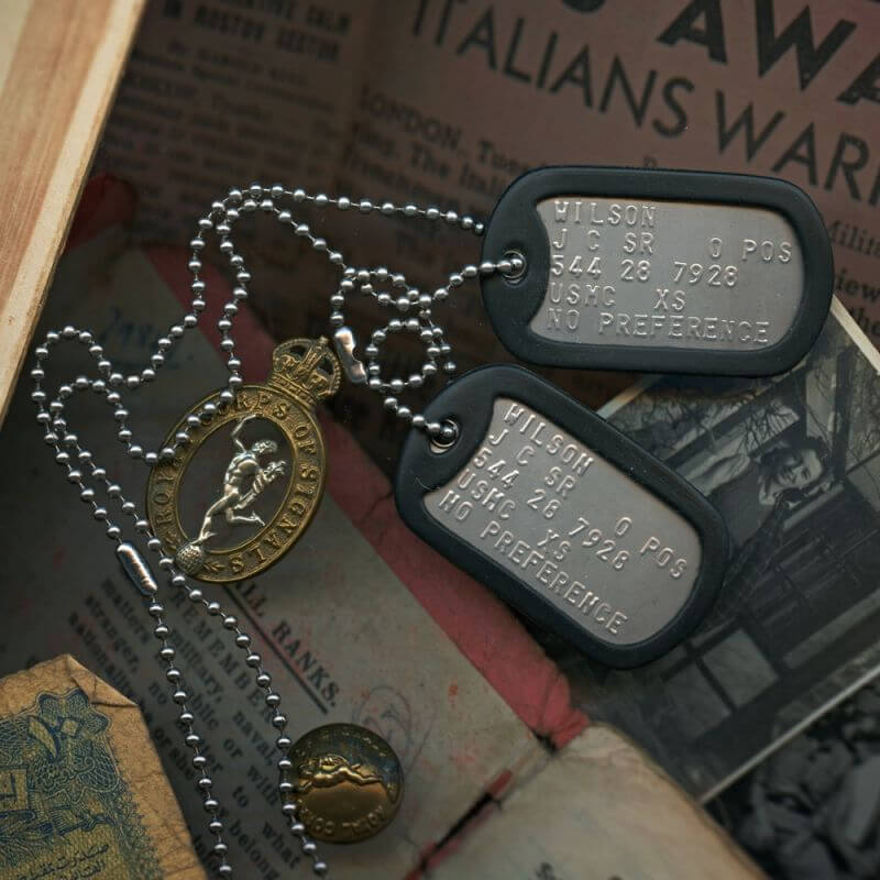 Information contained in a dog tag for army
