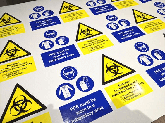 Approved construction safety signs