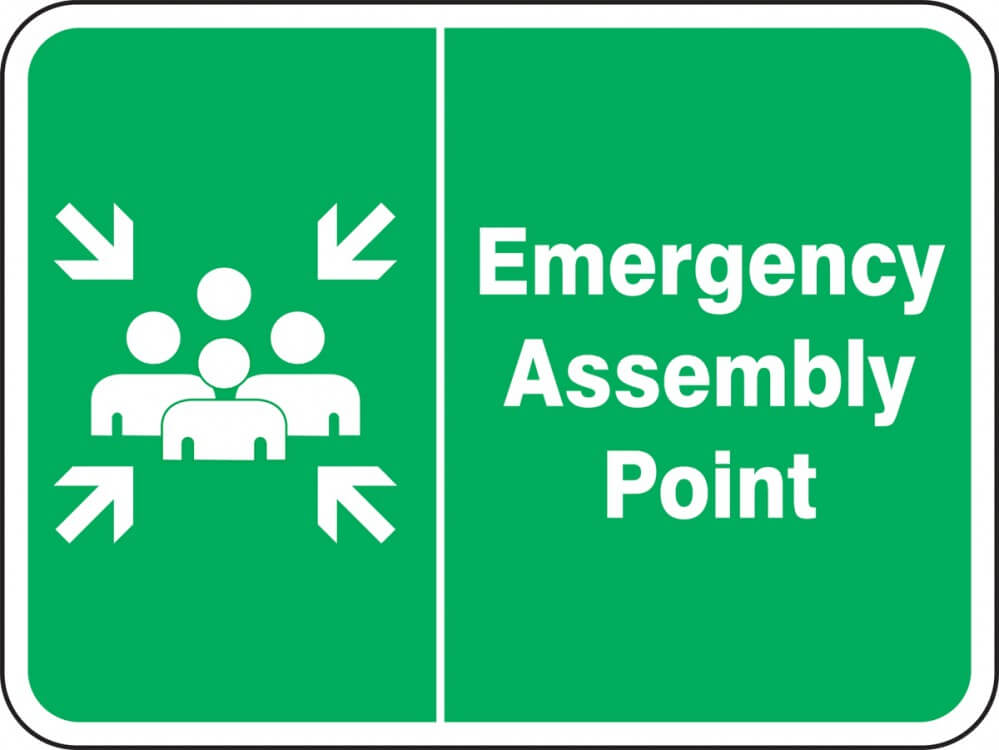 Green Safety zone sign