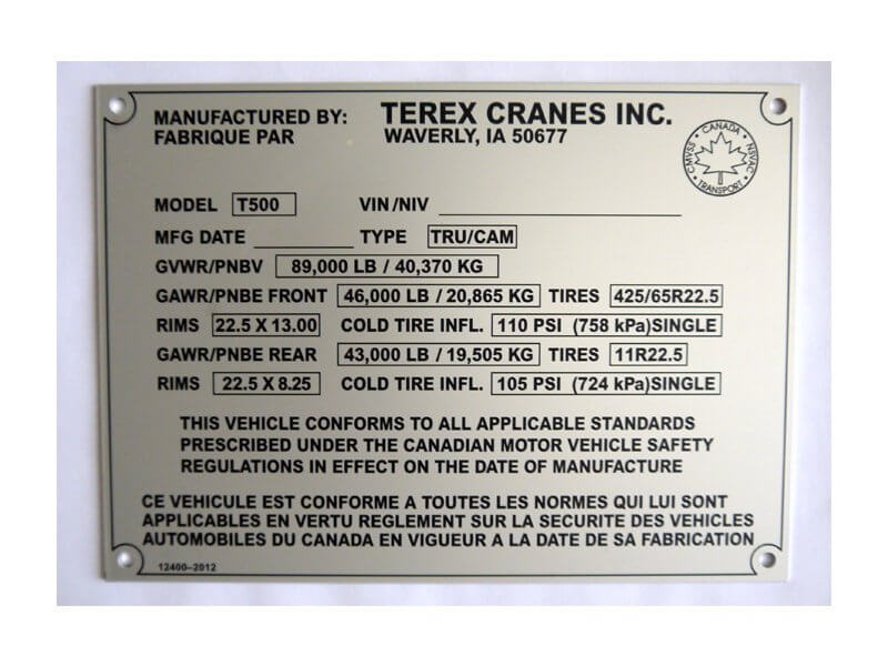 Chemical-Resistant Stainless Steel Label