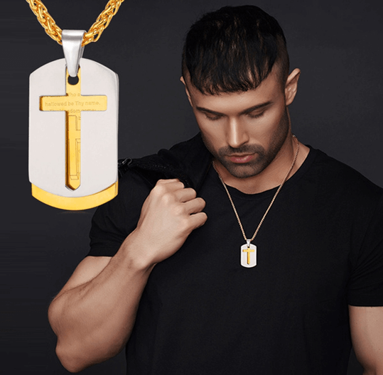 Dog tag for men with engraved cross