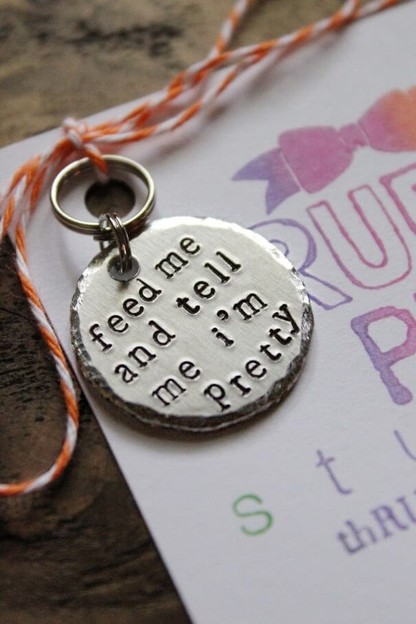 Example of round dog tag funny