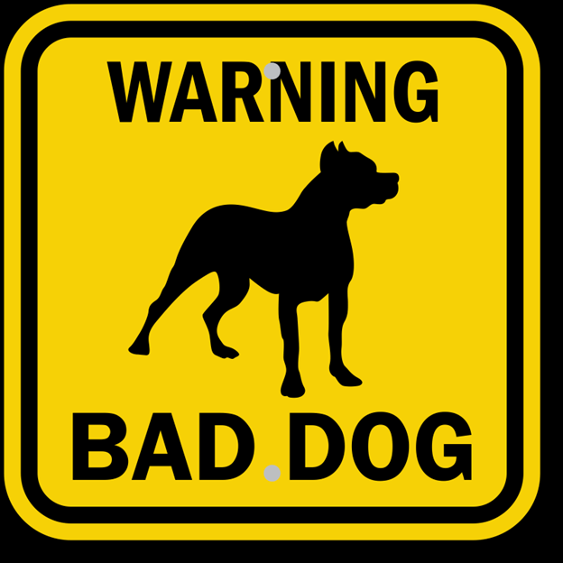 Yellow and black warning sign dog