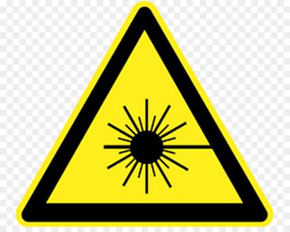 Laser beam hazard safety symbols lab