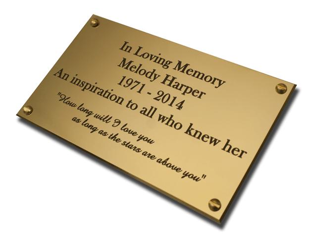 Engraved metal nameplate