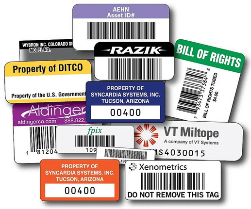 Color Combinations of the Asset Tags Aluminum